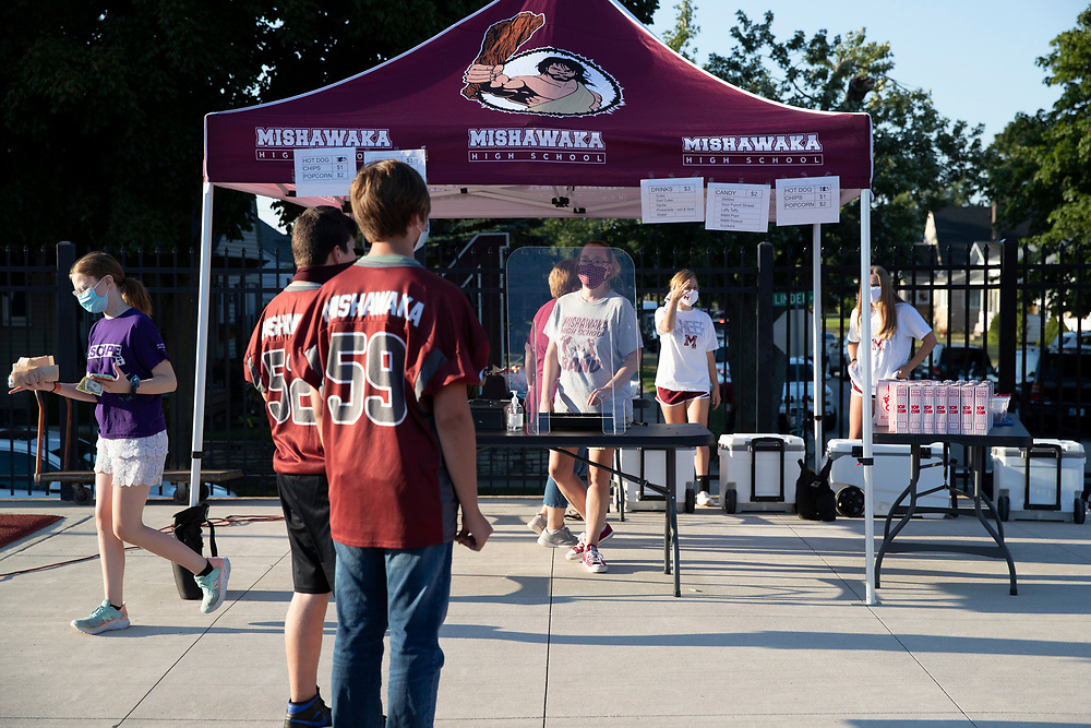 Concession stand at field level during the Marian-Mishawaka high school football game on Friday, August 21, 2020, at Steele Stadium in Mishawaka, Indiana.
