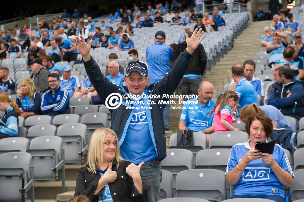 01–08-21.<br /> Dublin v Kildare - Leinster Senior Football Championship Final at Croke Park.<br /> Loyal Dublin supporters enjoying themselves on the Hogan Stand.<br /> Photo: John Quirke / www.quirke.ie<br /> ©John Quirke Photography, 16 Proudstown Road, Navan. Co. Meath. (info@quirke.ie / 046-9028461 / 087-2579454).