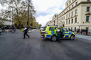 Police are deployed to observe a demonstration against the Policing and Crime Bill in central London on Saturday, May 1, 2021. The Bill is currently making its way through Parliament. The Government claims the legislation is needed to stop disruptive protests but critics claim it undermines free expression. (Photo/ Vudi Xhymshiti)