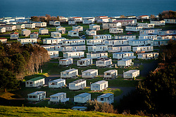 Holiday home static caravans near Lulworth Cove on the Jurassic Coast, Dorset, England, UK.