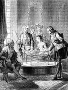 Mesmer's tub at his consulting room in parish which opened soon after his treatise 'Memoire sur la decouverte de magnetism animal' in 1779. Tub was a vat of dilute sulphuric acid and patients at therapy sessions sat around it either holding hands, or holding one of the iron bars projecting from it.  Illustration published Paris c1870.