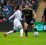 ( L-R ) Renato Sanches of Swansea City  and Shinji Okazaki of Leicester City in action. Premier league match, Swansea city v Leicester city at the Liberty Stadium in Swansea, South Wales on Saturday 21st October 2017.<br /> pic by Aled Llywelyn, Andrew Orchard sports photography.