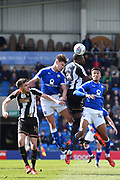 Notts County forward Shola Ameobi (9) battles with Chesterfield defender Sid Nelson (35) and Chesterfield forward Jacob Brown (44) during the EFL Sky Bet League 2 match between Chesterfield and Notts County at the b2net stadium, Chesterfield, England on 25 March 2018. Picture by Jon Hobley.