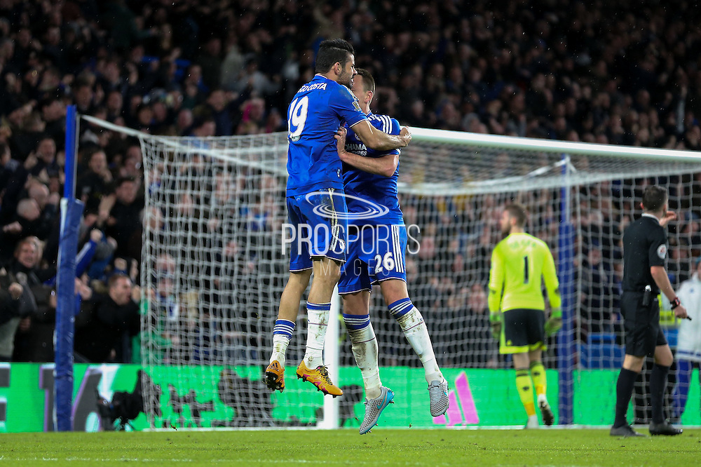 Chelsea's John Terry celebrates with Chelsea's Diego Costa during the Barclays Premier League match between Chelsea and Manchester United at Stamford Bridge, London, England on 7 February 2016. Photo by Ellie Hoad.
