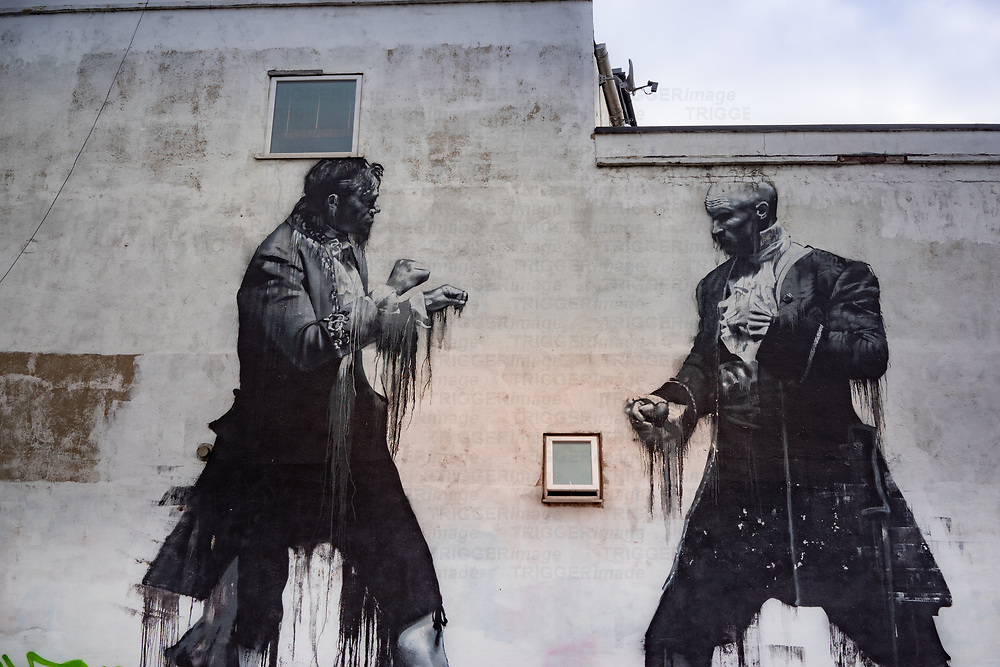 Image painted on a street wall in Dulwich south London