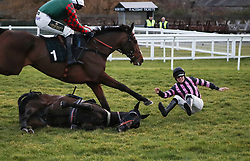 Jockey Alan Johns falls off Midnight Queen at the last hurdle as Telson Barley ridden by Kielan Woods goes on to win the Betway Novices' Handicap Hurdle at Musselburgh Racecourse.