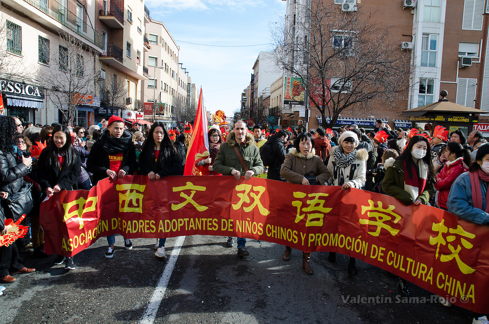 Madrid, Spain. 28th January, 2017. Banner of the Association of Adoptive Parents of Chinese Children and Promotion of Chinese Culture. © Valentin Sama-Rojo.
