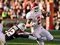 COLUMBIA, SC - NOVEMBER 8:   London Crawford #2 of the Arkansas Razorbacks runs with the ball against the South Carolina Gamecocks at Williams-Brice Stadium on November 8, 2008 in Columbia, South Carolina.  South Carolina defeated the Razorbacks 34-21.  (Photo by Wesley Hitt/Getty Images) *** Local Caption *** London CrawfordUniversity of Arkansas Razorback Men's and Women's athletes action photos during the 2008-2009 season in Fayetteville, Arkansas....©Wesley Hitt.All Rights Reserved.501-258-0920.