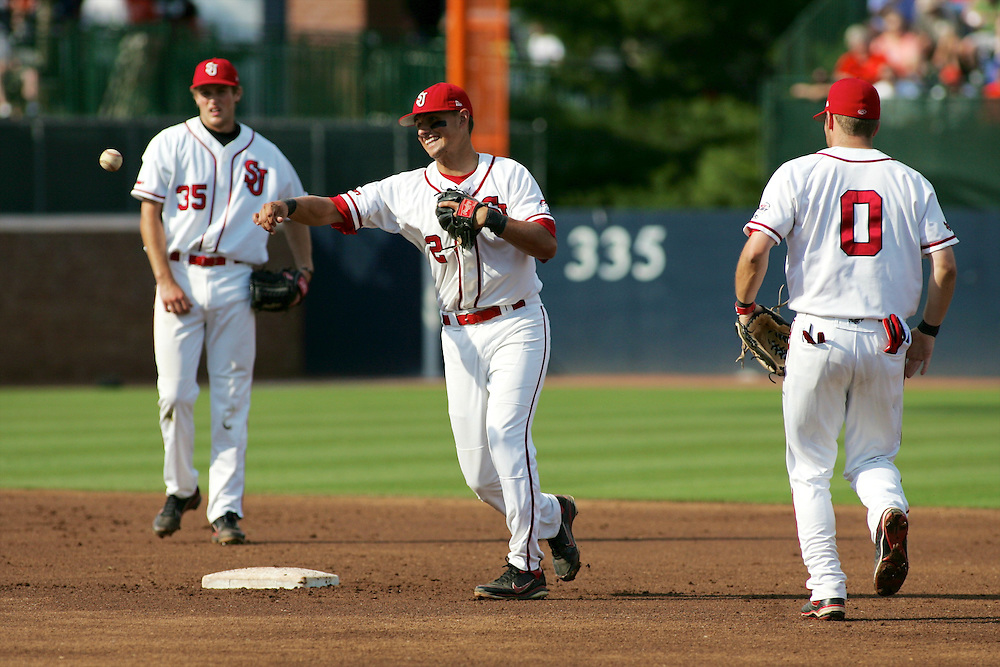June 4, 2011; Charlottesville, VA, USA; St. John's Red Storm short stop Joe Panik (2) warms up before playing the Virginia Cavaliers in the Charlottesville regional of the 2011 NCAA baseball tournament at Davenport Field. Mandatory Credit: Peter J. Casey-US PRESSWIRE