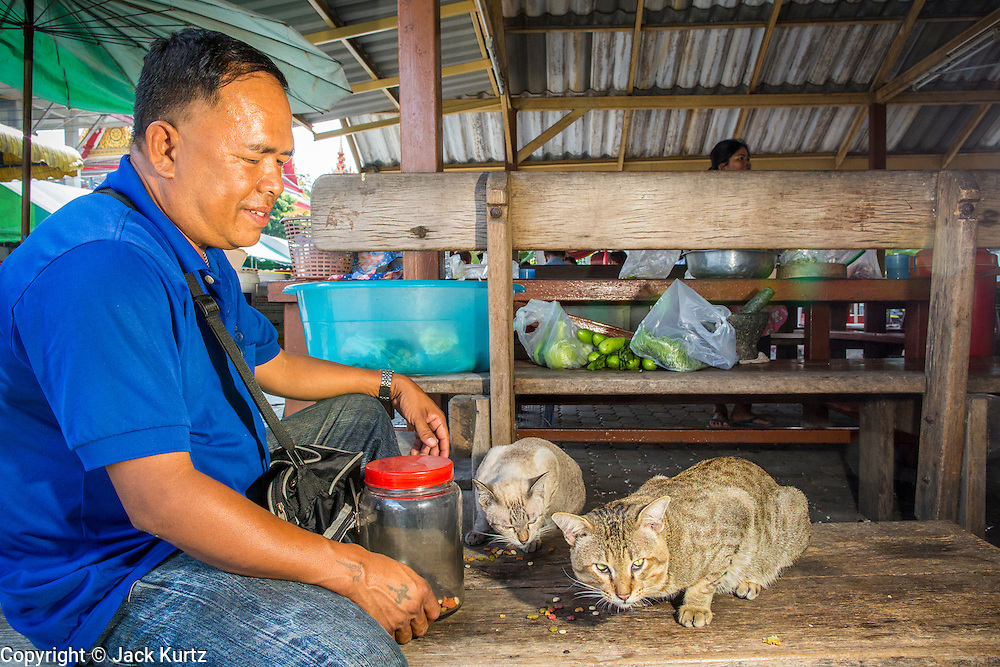 14 NOVEMBER 2012 - BANGKOK, THAILAND: A ticket taker and fare collector on the Khlong Saen Saeb passenger boats feeds cats he cares for at the Wat Sriboonreung Pier, the southern terminal of the Khlong Saen Saeb boat service. Bangkok used to be criss crossed by canals (called Khlongs in Thai) but most have been filled in and paved over. Khlong Saen Saeb is one of the few remaining khlongs in Bangkok with regular passenger boat service. Boats and ships play an important in daily life in Bangkok. Thousands of people commute to work daily on the Chao Phraya Express Boats and fast boats that ply Khlong Saen Saeb. Boats are used to haul commodities through the city to deep water ports for export.      PHOTO BY JACK KURTZ