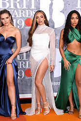 Perrie Edwards, Jade Thirlwall and Leigh-Anne Pinnock of Little Mix attending the Brit Awards 2019 at the O2 Arena, London. Photo credit should read: Doug Peters/EMPICS Entertainment. EDITORIAL USE ONLY