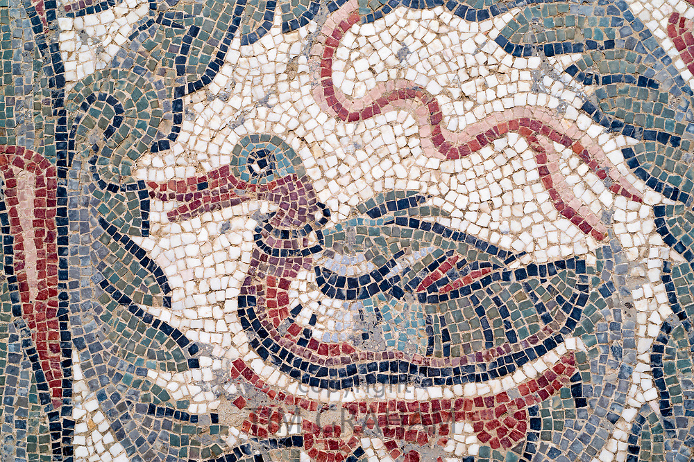 Famous mosaics and mosiac art of animals by Ovoid Portico at Roman Villa del Casale, Piazza Armerina, Sicily, Italy
