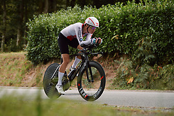 Marlen Reusser (SUI) on her way to third place at the 2020 UEC Road European Championships - Elite Women ITT, a 25.6 km individual time trial in Plouay, France on August 24, 2020. Photo by Sean Robinson/velofocus.com