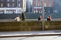 Walkway on Dublin's River Liffey Quays in Ireland