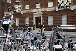 © Licensed to London News Pictures. 04/07/2013. London, UK. Media positions are seen outside the Lindo Wing of St Mary's Hospital in West London today (04/07/2013) as the world awaits the arrival of the son or daughter of the Duke and Duchess of Cambridge. Photo credit: Matt Cetti-Roberts/LNP