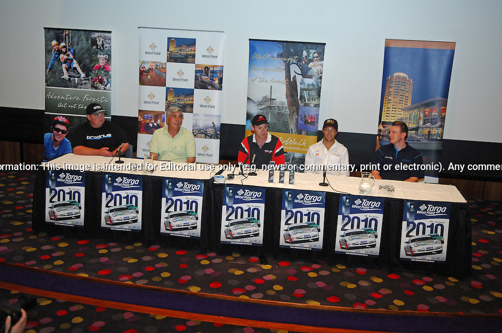 (L-R) Adrian Morrisby, Peter Eames, Jason White, Steve Jones, Dean Herridge .Press Conferecne - Day 0.Wrest Point Casino.Targa Wrest Point 2010.Southern Tasmania.29th of January 2010.(C) Joel Strickland Photographics.Use information: This image is intended for Editorial use only (e.g. news or commentary, print or electronic). Any commercial or promotional use requires additional clearance.