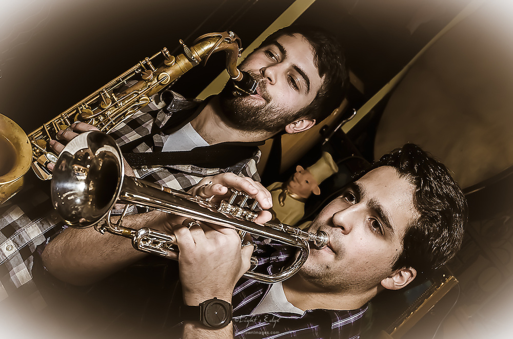 Matt Salazar on trumpet and Zach Winger on sax with Scott McClatchy at The Bus Stop Music Cafe in Pitman, NJ.