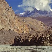 Heavily eroded, arid hillside on the rainshadowed north side of the Himalaya, near Annapurna.