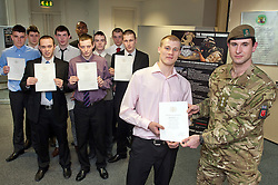 10 young men from Sheffield all took the Army Oath of Allegiance and joined the Yorkshire Regiment at Sheffield AFCO on Monday Capt. Andy Bell Staff Officer from The Yorkshire regiment was on hand to present (from left to right) Luke oliver, Sam Stocks, Joshua Bradley, Issac Richardson, Nicolai De Sliva, John Richards, Aiden Horsefield, James Badloe Jake Waters and Charlie Rains with their certificates. ..www.pauldaviddrabble.co.uk..20th February 2012 -  Image © Paul David Drabble