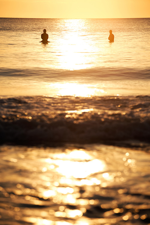 Surfers at Sunset, near Bude, spring 2014