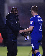 Jimmy Floyd Hasselbaink, the manager of Northampton Town shakes hands with Damien McCrory of Portsmouth. EFL Skybet Football League one match, Northampton Town v Portsmouth at the Sixfields Stadium in Northampton on Tuesday 12th September 2017. <br /> pic by Bradley Collyer, Andrew Orchard sports photography.