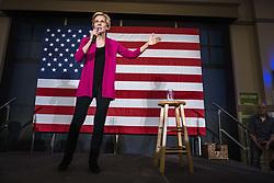 March 29, 2019 - West Des Moines, Iowa, U.S - Senator ELIZABETH WARREN (D-MA) campaigns for president at NOAH'S Event Venue in West Des Moines, Iowa on Friday, March 29, 2019. (Credit Image: © KC McGinnis/ZUMA Wire)