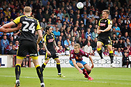A header from Rotherham United midfielder Will Vaulks (4) during the EFL Sky Bet League 1 match between Scunthorpe United and Rotherham United at Glanford Park, Scunthorpe, England on 12 May 2018. Picture by Nigel Cole.