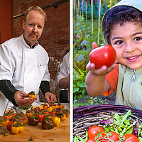 Canadian Chef Martin Kouprie offering some tasty treats and a young gardener offering s a large ripe red tomato