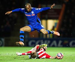Stoke City's Stephen Ireland tackles Rochdale's Calvin Andrew  - Photo mandatory by-line: Matt McNulty/JMP - Mobile: 07966 386802 - 26/01/2015 - SPORT - Football - Rochdale - Spotland Stadium - Rochdale v Stoke City - FA Cup Fourth Round