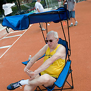 Date: 6/27/09.Desk: NAT.Slug: aging$500.Assign Id: 30081997A..Thomas Rice, 81, of the Philadelphia Masters Track & Field Club, waits to compete in the triple jump at the 2009 USATF (USA Track & Field) East Region Masters Track & Field Championships at East Stroudsburg University in East Stroudsburg, Pennsylvania on June 27, 2009....Photo by Angela Jimenez for The New York Times .photographer contact 917-586-0916