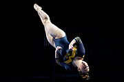 Natalie Wojcik of the Michigan Wolverines competes in vault at the Elevate the Stage meet at the Huntington Center on February 23, 2019 in Toledo, Ohio. Wojcik scored a perfect 10, the first of her career.