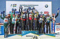 March 16, 2019 - –Stersund, Sweden - 190316 Erik Lesser, Roman Rees, Arnd Peiffer and Benedikt Doll of Germany,  Johannes Thingnes Bø, Vetle SjÃ¥stad Christiansen, Tarjei Bø and Johannes Thingnes Bø of Norway, Matvey Eliseev, Nikita Porshnev, Dmitry Malyshko and Alexander Loginov of Russia celebrate on the podium after the Men's 4x7,5 km Relay during the IBU World Championships Biathlon on March 16, 2019 in Östersund..Photo: Petter Arvidson / BILDBYRÃ…N / kod PA / 92269 (Credit Image: © Petter Arvidson/Bildbyran via ZUMA Press)
