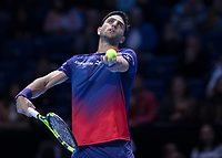 Tennis - 2019 Nitto ATP Finals at The O2 - Day Two<br /> <br /> Doubles Group Max Mirnyi: Juan Sebastien Cabal (COL) & Robert Farah (CAN) Vs. Pierre-Hugues Herbert (FRA) & Nicolas Mahut (FRA) <br /> <br /> Robert Farah (CAN) serves during his opening match <br /> <br /> COLORSPORT/DANIEL BEARHAM