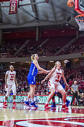 NORMAL, IL - December 20: Tasia Jefferies and Lexy Koudelka watch and wait for a rebound attempt during a college women's basketball game between the ISU Redbirds and the St. Louis Billikens on December 20 2018 at Redbird Arena in Normal, IL. (Photo by Alan Look)