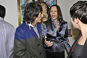 RONNIE WOOD; FIONA DAVIDOFF, Faces, Time and Places. Symbolic Collection & Ronnie Wood private view, Cork St. London. 8 November 2011.<br /> <br /> <br />  , -DO NOT ARCHIVE-© Copyright Photograph by Dafydd Jones. 248 Clapham Rd. London SW9 0PZ. Tel 0207 820 0771. www.dafjones.com.