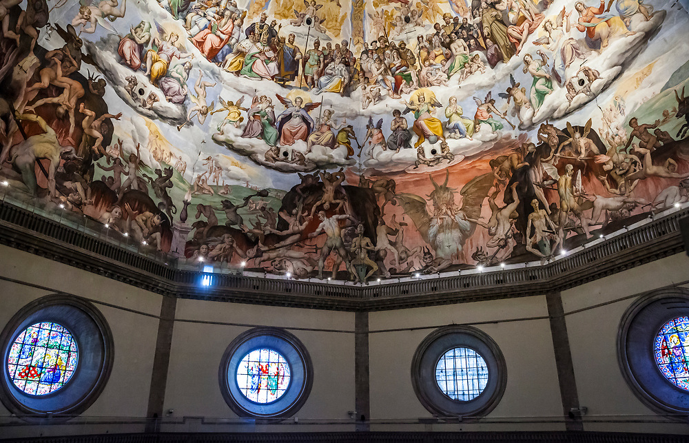 The dome interior fresco, Last Judgement, by Giorgio Vasari.  Completed in 1579. The Duomo / Cathedral of Santa Maria del Fiore in Florence, Italy.