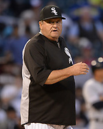 CHICAGO - MAY 30:  Pitching coach Don Cooper #99 of the Chicago White Sox looks on against the Cleveland Indians on May 30, 2019 at Guaranteed Rate Field in Chicago, Illinois.  (Photo by Ron Vesely)  Subject:  Don Cooper
