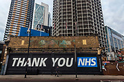 NHS thank-you mural on Great Eastern Street during the coronavirus pandemic on the 4th May 2020 in London, United Kingdom.