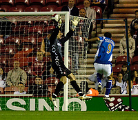 Photo: Jed Wee.<br /> Middlesbrough v Portsmouth. The Barclays Premiership. 28/08/2006.<br /> <br /> Portsmouth's Svetoslav Todorov (R) scores their fourth goal.