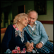 DECEMBER 8th, 2017. Bronx, NY. Helen Moses with her partner Howie Zeimer, at Hebrew Home in Riverdale. Year-end update on the people from the 2015 Oldest Old series. (photo Edu Bayer)