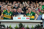 Kerry joint captains Fionn Fitzgerald and Kieran O'Leary lift the Sam Maguire Cup to celebrate  Kerry's victory over Donegal in the All-Ireland Football Final against  in Croke Park 2014.<br /> Photo: Don MacMonagle<br /> <br /> <br /> Photo: Don MacMonagle <br /> e: info@macmonagle.com