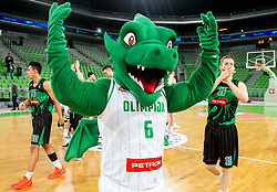 Mascot Dragon and players of Petrol Olimpija celebrate after winning during basketball match between KK Petrol Olimpija and KK Igokea in Round #19 of ABA League 2018/19, on February 11, 2019 in Arena Stozice, Ljubljana, Slovenia. Photo by Vid Ponikvar / Sportida