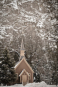 A winter scene with the Yosemite Valley Chapel.