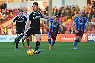 Sam Winnall of Barnsley FC takes and missis penalty during the Sky Bet League 1 match between Scunthorpe United and Barnsley at Glanford Park, Scunthorpe, England on 31 October 2015. Photo by Ian Lyall.