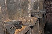 Bottles aging in the cellar. Pommard 1875, Chambertin 1858. Domaine Negociant Champy Pere & Fils, Beaune, Burgundy, France
