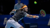 Tennis - 2019 Nitto ATP Finals at The O2 - Day Eight<br /> <br /> Singles Final : Stefanos Tsitsipas (Greece) Vs. Dominic Thiem (Austria)<br /> <br /> Stefanos Tsitsipas (Greece) grimaces as he tries to reach the passing shot <br /> <br /> COLORSPORT/DANIEL BEARHAM