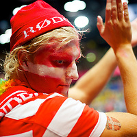 Danish fans attend the handball match between Iceland and Sweden at the Copper Box during the 2012 London Summer Olympiad.