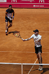 May 6, 2018 - Estoril, Portugal - Kyle Edmund (R) from Great Britain returns a shot against Wesley Koolhof (L) from Netherlands and Artem Sitak from New Zealand  while playing with Cameron Norrie from Great Britain during the Millennium Estoril Open ATP doubles final tennis match in Estoril, near Lisbon, on May 6, 2018. (Credit Image: © Carlos Palma/NurPhoto via ZUMA Press)