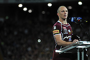July 6th 2011: Maroons captain, Darren Lockyer speaks on stage after game 3 of the 2011 State of Origin series at Suncorp Stadium in Brisbane, QLD, Australia on July 6, 2011. Photo by Matt Roberts / mattrimages.com.au / QRL