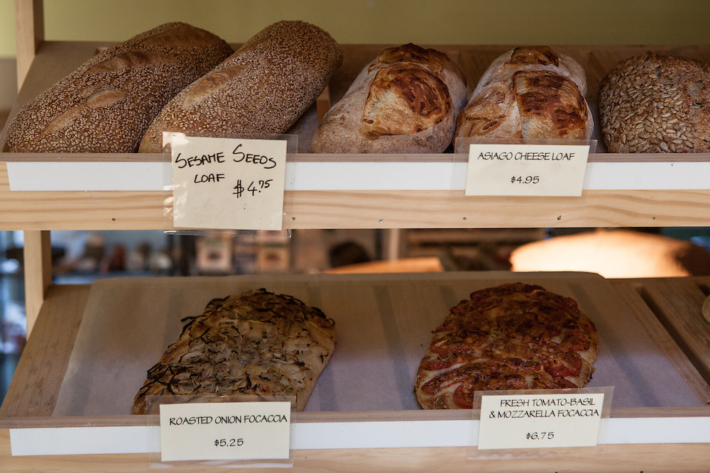 Jamestown, RI - 7 May 2007. Artisanal bread for sale at The Village Hearth Bakery and Cafe.